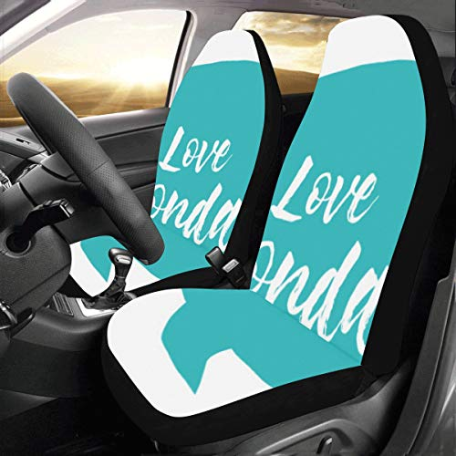 I Love Happy Monday Words Custom New Universal Fit Auto Drive Car Seat Covers Protector for Women Automobile Jeep Truck SUV Vehicle Full Set Accessories for Adult Baby (Set of 2 Front)