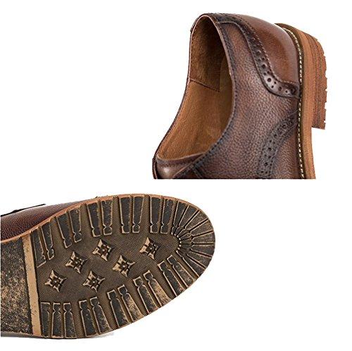 Mariage à Cuir Hommes Casual en Gentleman Brown Chaussures Respirant NIUWJ British La Fait Main Business Lacing Rx0wzz