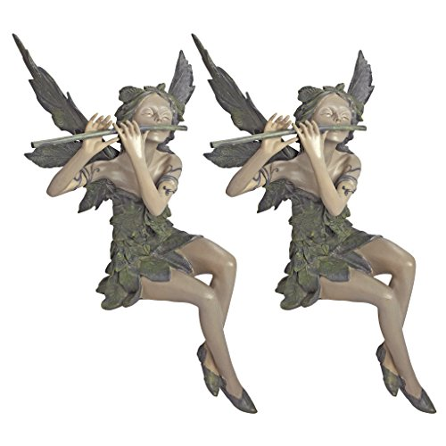 (Design Toscano Fairy of the West Wind Sitting Garden Statue, 19 Inch, Set of Two, Polyresin, Two Tone Stone)