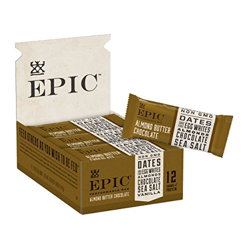 Epic Provisions EPIC Performance Bar Almond Butter Chocolate, 16.83 oz, 9 Count