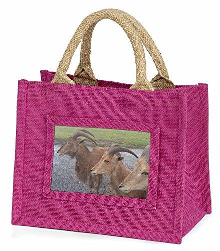 Advanta–Mini Pink Jute Tasche drei Cheeky Ziegen Little Mädchen klein Einkaufstasche Weihnachten Geschenk, Jute, pink, 25,5x 21x 2cm