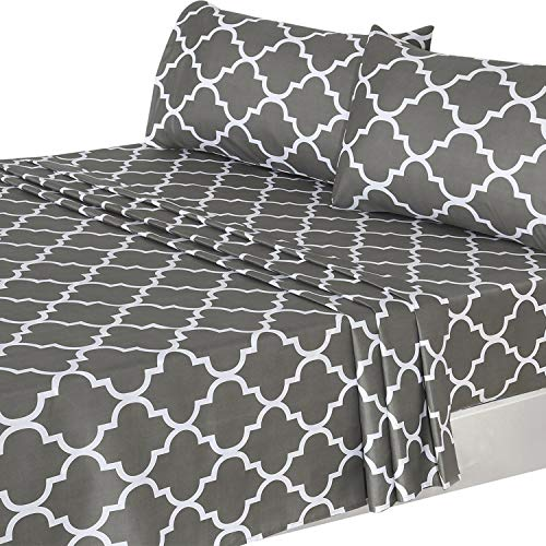 (Utopia Bedding 3Pc Bed Sheet Set 1 Flat Sheet, 1 Fitted Sheet, and 1 Pillow Case (Twin, Grey))