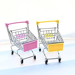 2 Pcs Mini Shopping Cart Supermarket Handcart Shopping Utility Cart Mode Storage Toy (Pink & Yellow)