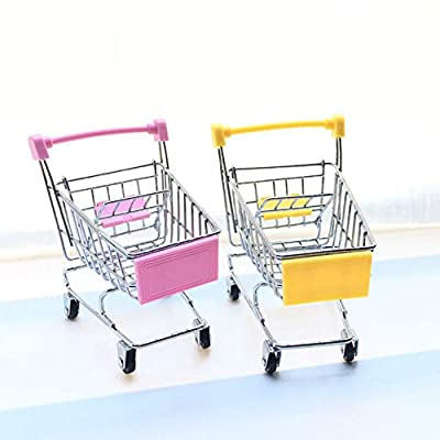 2 Pcs Mini Shopping Cart Supermarket Handcart Shopping Utility Cart Mode Storage Toy (Pink & Yellow)