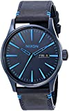 Nixon Men's A1052224-00 Sentry Leather Analog Display Japanese Quartz Blue Watch