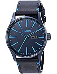 Nixon Men's A1052224-00 Sentry Leather Analog Display Japanese Quartz Blue Watch