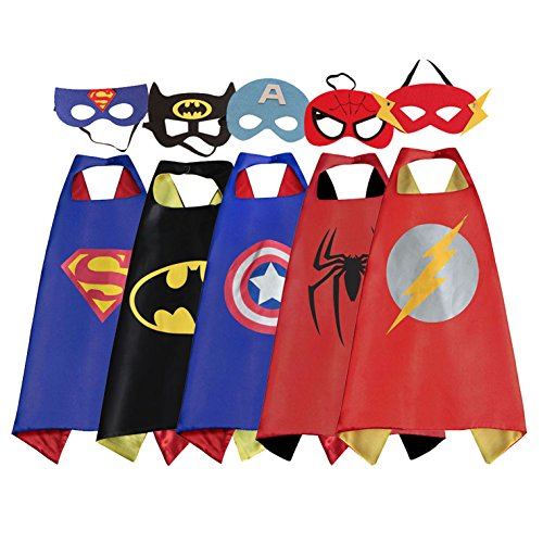RioRand Cartoon Dress up Costumes Satin Capes with Felt Masks for Boys (5PCS (Easy Halloween Costumes For 8 Year Olds)