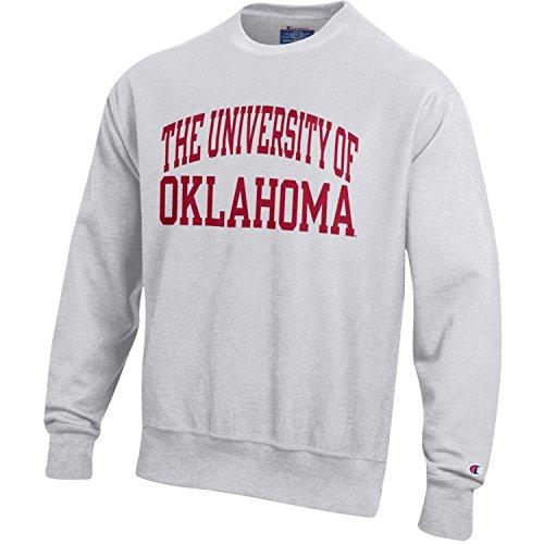 Oklahoma Crew Sweatshirt - Champion NCAA Oklahoma Sooners Men's Men's Reverse Weave Crew, X-Large, Gray