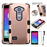 LG LEON Case ; Phonelicious(Tm) For LG POWER(L22C) LG DESTINY(L21G) LG LEON(C40) Heavy Duty Rugged Impact Hybrid Case Robust Phone Tuff Cover + Screen Protector & Stylus(ROSE GOLD BLACK TUFF)