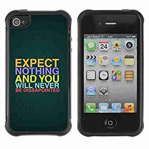A-type Arte & diseño Anti-Slip Shockproof TPU Fundas Cover Cubre Case para Apple iPhone 4 / 4S ( Interesting Message Quote )