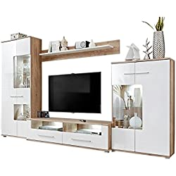 Modern 2 Entertainment Center Wall Unit with LED Lights 60 to 70 Inch TV Stand, Oak and High Gloss White