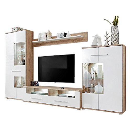 Modern 2 Entertainment Center Wall Unit with LED Lights 60 to 70 Inch TV Stand, Oak and High Gloss White (Units Wall Furniture White)