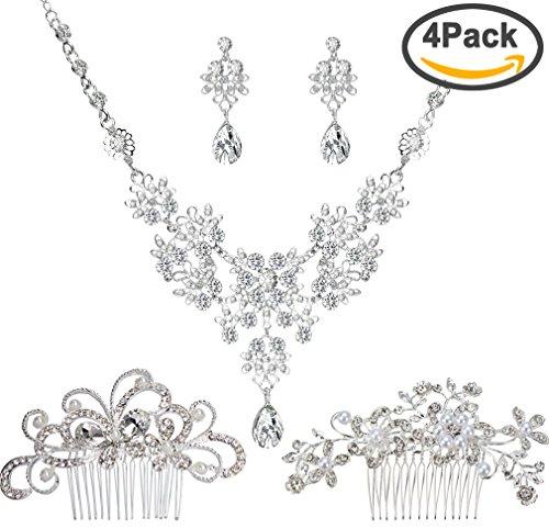 Jaciya 2pcs Bridal Wedding Hair Comb with 1 Set Wedding Necklace Earrings Alloy Rhinestone Crystal Necklace Head Pin Headpiece Bridal Wedding Jewelry - Hair World Waynes
