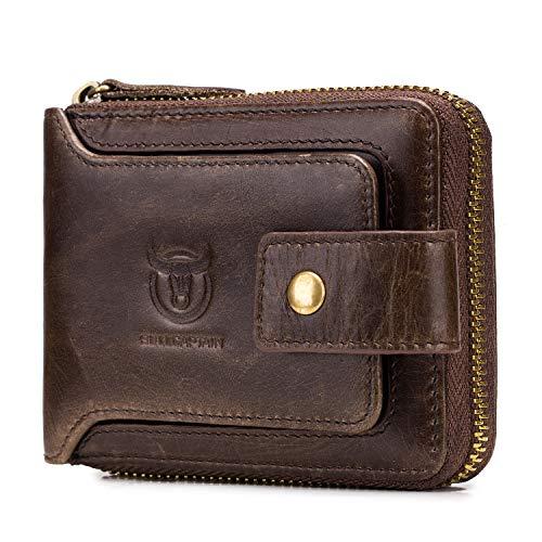BAIGIO RFID Men Leather Zipper Wallet Zip Around Wallet Bifold Multi Card Holder Purse (Brown)