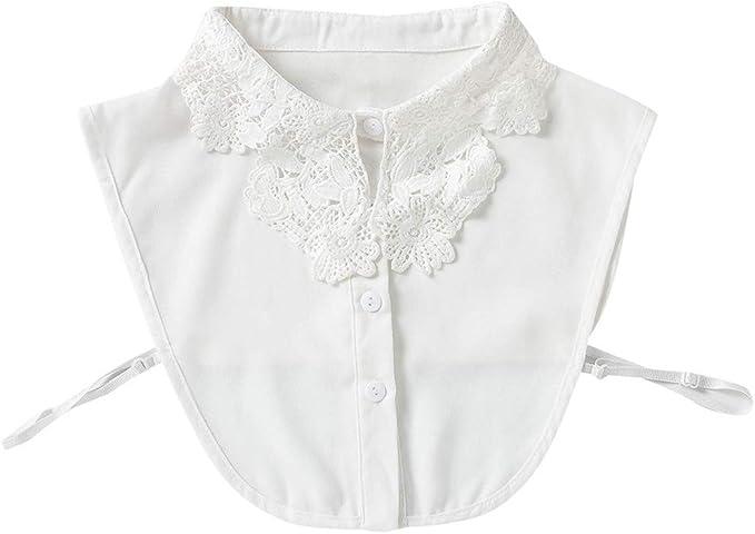 VAILANG Mujeres Chica Crochet Encaje Patchwork Falso Cuello Falso Botón Abajo Desmontable Media Camisa Blusa Vestido Ropa Decorativa Accesorio: Amazon.es: Hogar