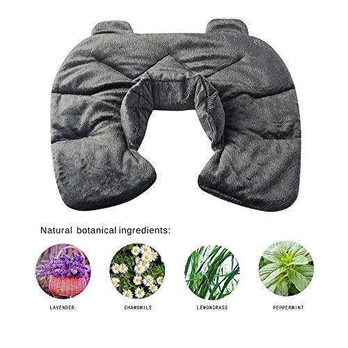 Heated Microwaveable Herbal Neck Wrap - LALATA Heat & Cold Deep Penetrating Herbal Therapy Neck Shoulder Wrap, Adjustable Heating Neck Pillow Pad for Tension Relief, Aches, Migraines Headaches, Grey ()