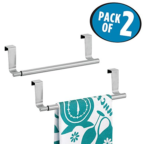 mDesign Decorative Kitchen Over-The-Cabinet Expandable Adjustable Towel Bars Holders organizers for Hanging Drying Hand, Dish, Tea Towels - set of 2, Brushed Stainless Steel by mDesign