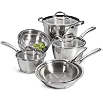 Tramontina 80154/567DS Tri-Ply Stainless-Steel Cookware Set, Induction-Ready, Impact-Bonded, 9-Piece