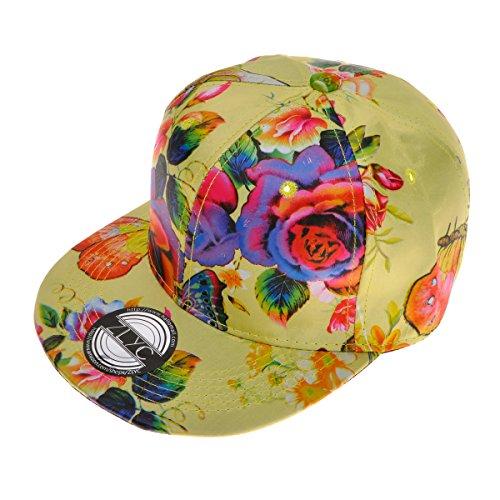 [ZLYC Unisex Vivid Neon Floral Print Snapback Flatbill Adjust Baseball Hat Cap, Yellow] (Ethnic Hats)