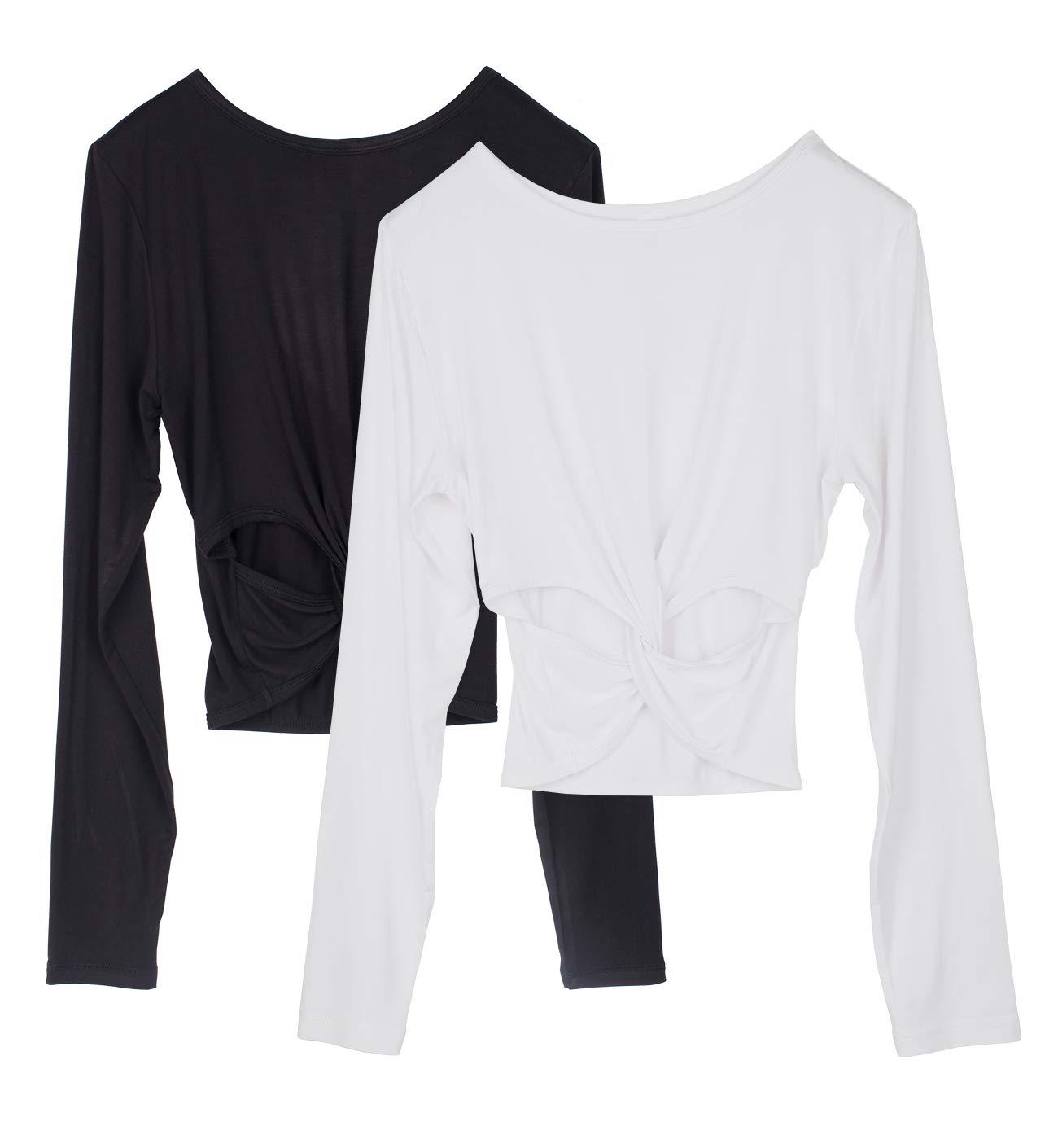 Icyzone Long Sleeve Crop Tops For Women Activewear Workout Yoga