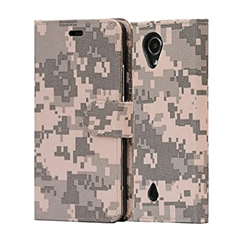 i-UniK BLU R1 HD 8/16 GB Kickstand Flip Cover with Card/ID Holder R0010UU Phone Wallet Case (ACU - Camo Cell Phone Cover