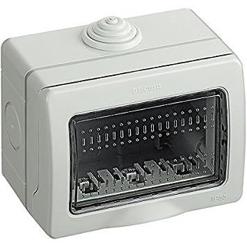 4 posti Bticino Custodia Idrobox Scatola da parete IP55 composta da base e portello di protezione per alloggiamento interruttori e prese Matix 25504