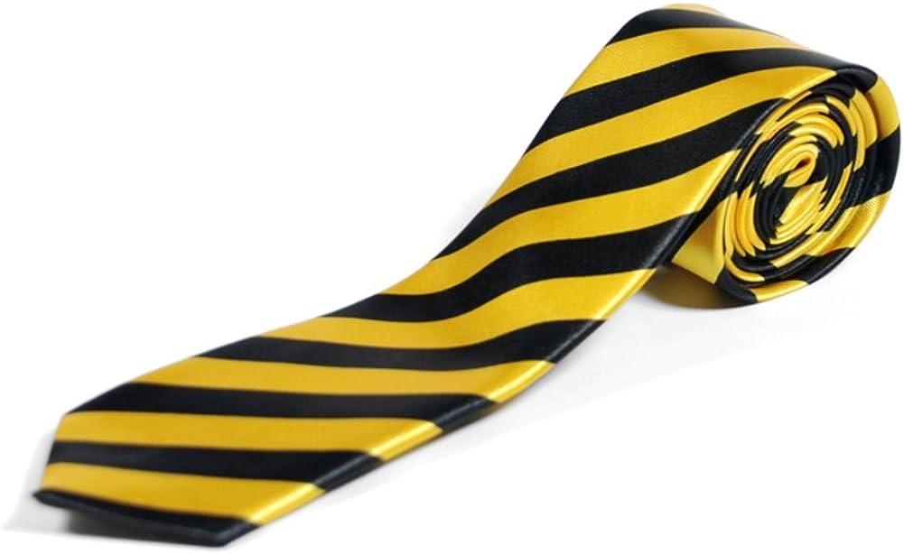 Nero /& Giallo Strisce Diagonale Skinny Cravatta