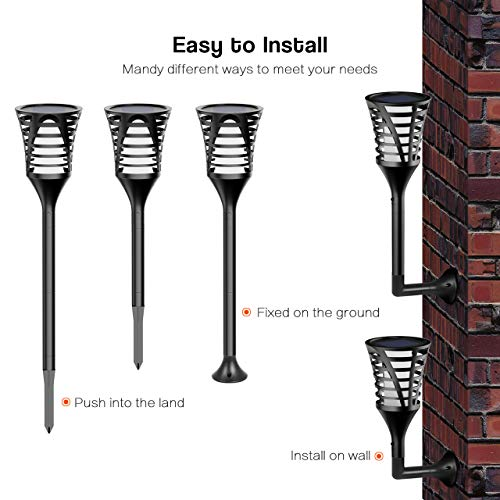 InnoGear Solar Lights Outdoor, Upgraded LED Flame Light 3 Working Modes Flicker Flickering Torch Wall Path Light Waterproof Spotlights Decorative In-Ground Landscape Lighting Auto On/Off, Pack of 4 by InnoGear (Image #3)