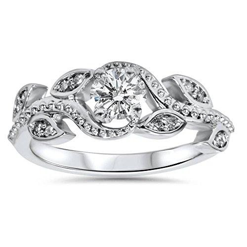 - 3/8ct Vintage Floral Leaf Diamond Engagement Ring 14K White Gold