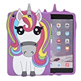 IPad Mini PURPLE Case,Bukit Cell-Color 3D Cute Silicone Lovely Fun Anial Cartoon Gel Rubber Back Cover Case for iPad Mini 1 2 3 (Rainbow Horse) +Bukit Cell Mettalic stylus pen