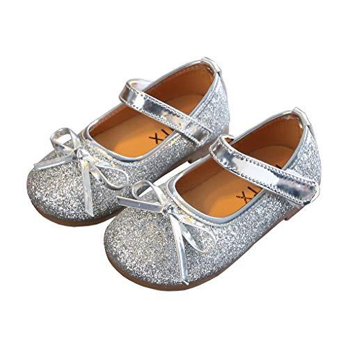 lakiolins Little Girls Shiny Sequins Bowknot Mary Jane Ballet Flats Princess Dress Shoes Silver Size 30