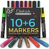 Chalkola Chalk Markers & Metallic Colors - Pack of 16 chalk pens - For Chalkboard, Whiteboard, Window, Labels, Bistro - 6mm Bullet Tip with 8 gram ink