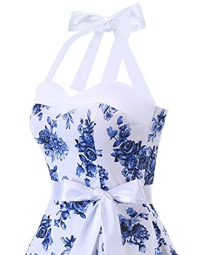 Dresstells Vintage Des Années 1950 Pois Rockabilly Robe De Audrey Robe De Cocktail Rétro Fleur Bleue Blanc