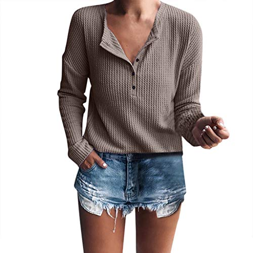 (St.Dona Basic Button Tunic - Women's Long Sleeve Henley Shirt Rib Knit Blouse Tops Brown)