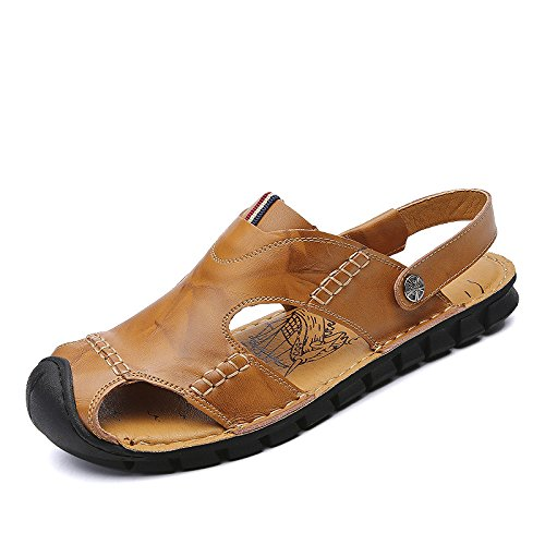 DHFUD Summer Sandales Hommes Respirant Chaussures de Plage Yellow