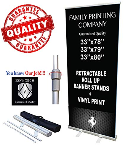 (King Tech Retractable Roll Up Banner Stands + Vinyl Print)