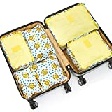 Aisa 6pcs Travel Organizers Packing Cubes Luggage Organizers Compression Pouches Yellow Smiley