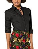 Womens Turn Down Collar Work Office Solid Blouse Shirt (Black, Asia L =US XS)
