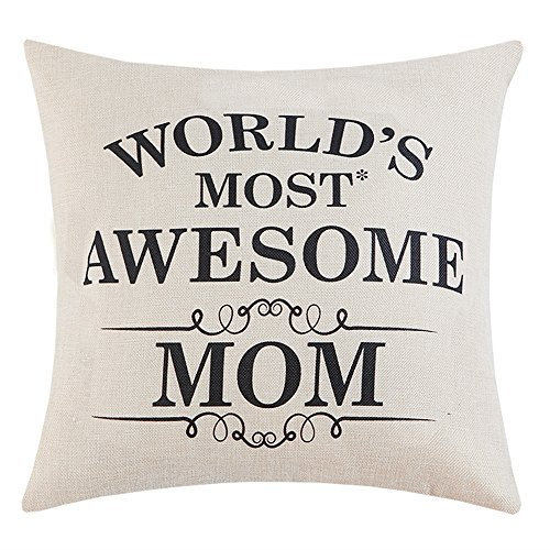 Anickal Mom Gifts Mother's Day Gifts World's Most Awesome Mom Quote Print Pillow Covers 18 x 18 Inch for Mother's Day Home Decoration, Best Gifts for Mom's (Awesome Decorations)