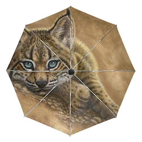 (Bobcat Compact Travel Umbrella - Windproof,Reinforced Canopy,Ergonomic Handle,Auto Open )