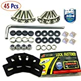 Aootf License Plate Screws Stainless Steel Anti-Theft Tamper Resistant Kit License Plates Security Covers (45 Pc)