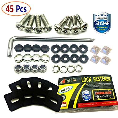 (Stainless Steel License Plate Screws -Anti Theft Frames Fasteners Screws Tamper Resistant Kits for License Plates Security and Covers)