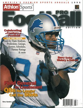 Barry Sanders Pro Football (Athlon CTBL-012258 Barry Sanders Unsigned Detroit Lions Sports 1999 NFL Pro Football Preview Magazine)