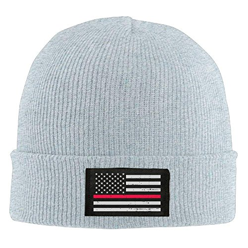 Winter Military Thin Red Line Flag Knit Hat Beanie Hat Ash