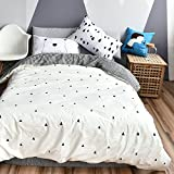 BuLuTu Cotton Full Kids Duvet Cover Set White Forest Bear Series 3 Pieces Reversible Soft Promotional Triangle Print Queen Comforter Cover Zipper Closure With 4 Corner Ties For Teen Boys Girls