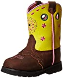 John Deere JD1152 Pull On Boot (Toddler), Tan Mid Brown Distressed/Yellow, 4 M US Toddler