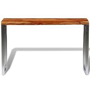 Festnight Tables Consoles de Salon en Bois sheesham Solide avec Pieds en Acier