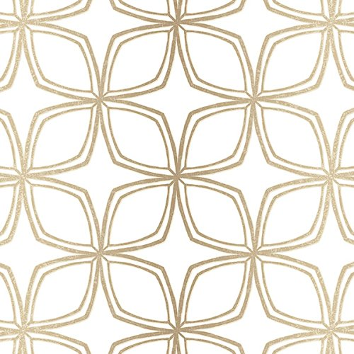 Manhattan comfort NWSH34552 Dudley Series Vinyl Geometric Flower Design Large Wallpaper Roll, 20.5