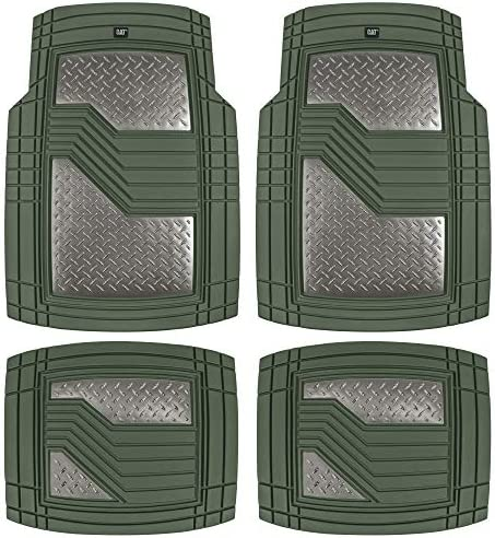 Caterpillar Heavy Duty Rubber Floor Mats for Car SUV Truck & Van-All Weather Protection, Front & Rear with Heelpad & Anti-Slip Nibs Backing, Trim-to-Fit, Green/Gun Metal, CAMT-2314-GN/GM