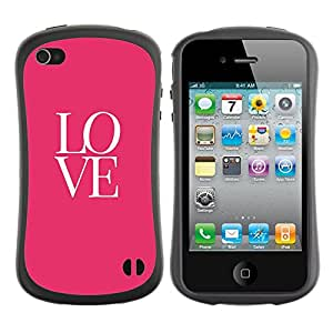 Paccase / Suave TPU GEL Caso Carcasa de Protección Funda para - love text pink white valentines kiss - Apple Iphone 4 / 4S